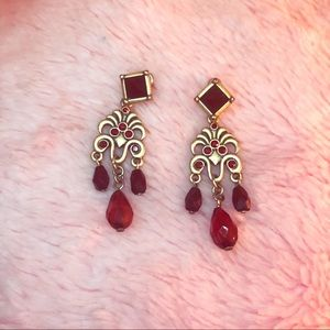 Jewelry - Red and gold chandelier earrings (NWOT)